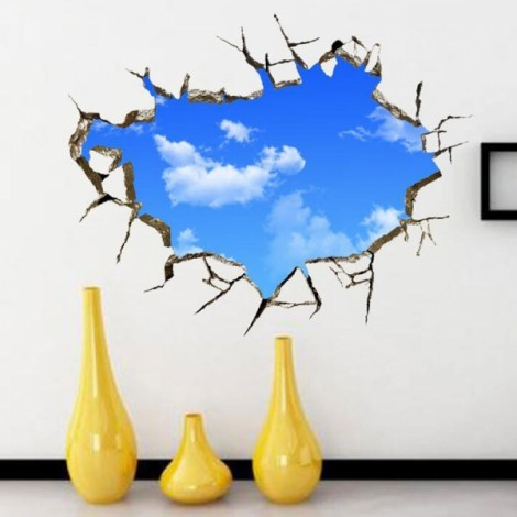 Blue Sky 3D Wall Decals Sticker Ceiling Hole Sticker Home Bedroom Wall Decor