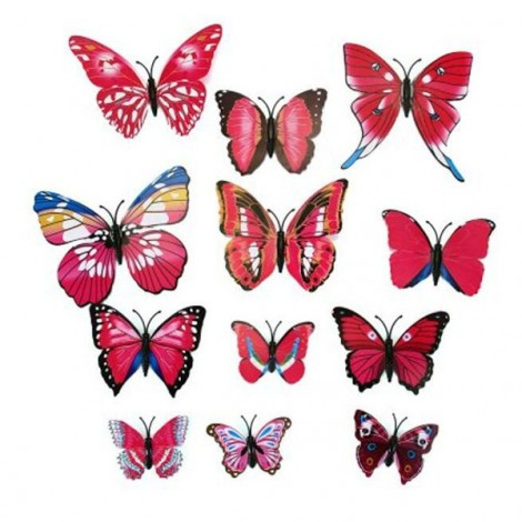 12pcs 3D Butterfly Wall Stickers Fridge Magnet Home Decoration Plum