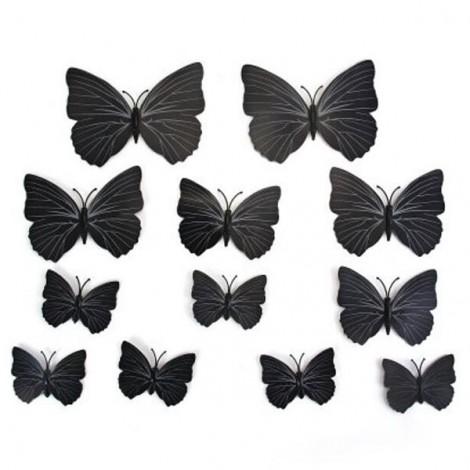 12pcs 3D Butterfly Wall Stickers Fridge Magnet Home Decoration Black