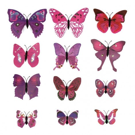 12pcs 3D Butterfly Wall Stickers Fridge Magnet Home Decoration Purple
