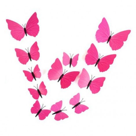 12pcs 3D Butterfly Wall Stickers Fridge Magnet Home Decoration Pink