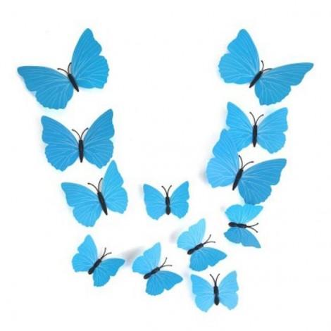 12pcs 3D Butterfly Wall Stickers Fridge Magnet Home Decoration Sky Blue
