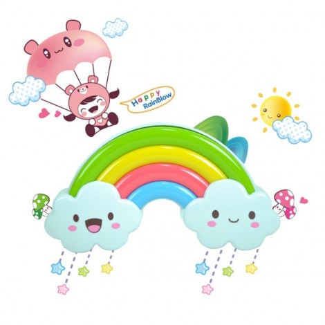 Fantastic Rainbow Style LED Colorful Voice Control Projector Light Sleep Night Lamp for Kids Multi-color