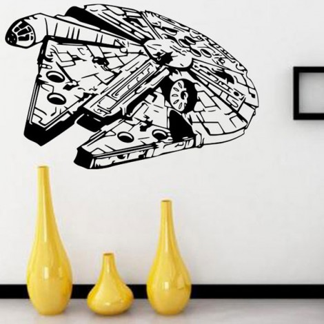 w-25 Star War Millennium Falcon Style Wall Sticker Removable Water Resistant PVC Wallpaper for Home Decoration Black