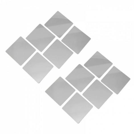 16pcs 15cm x 0.2mm Bathroom Removable Self-adhesive Mosaic Tiles Mirror Wall Stickers Silver