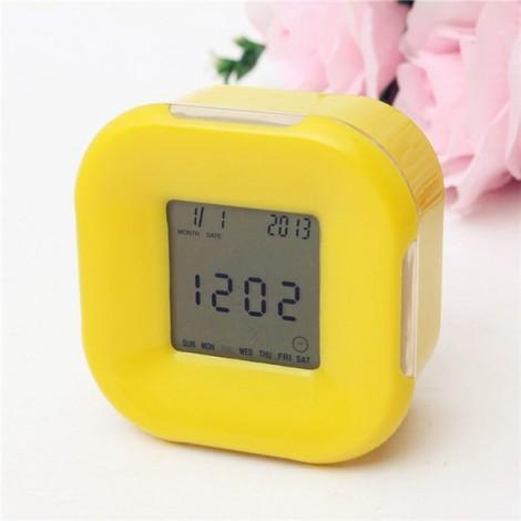 Multifunction 4-Side Change Clock Calendar Timer Temperature Display Rotary LED Digital Alarm Clock Yellow