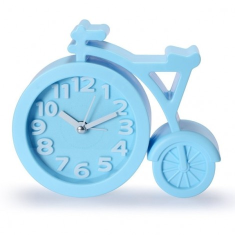 Creative Bicycle Style Mute Alarm Clock Home Table Office Decor Clock Blue