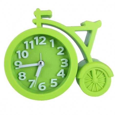 Creative Bicycle Style Mute Alarm Clock Home Table Office Decor Clock Green