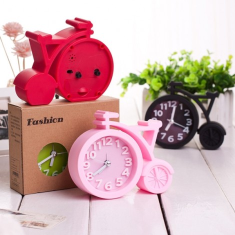 Creative Bicycle Style Mute Alarm Clock Home Table Office Decor Clock Pink
