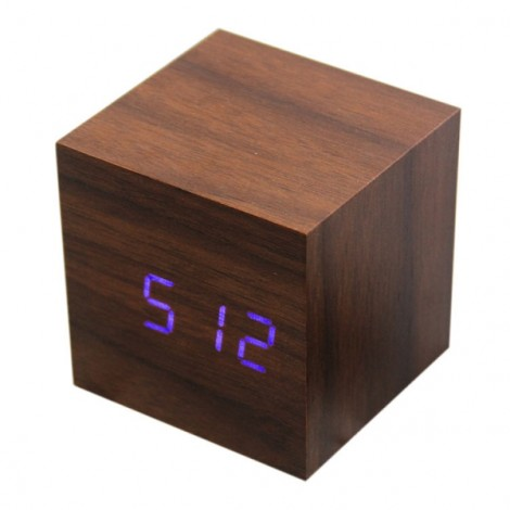 Voice Control Wooden Square LED Alarm Digital Desk Clock with Thermometer Calendar Rosewood & Blue LED