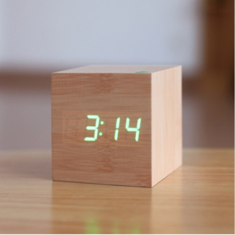 Voice Control Wooden Square LED Alarm Digital Desk Clock with Thermometer Calendar Burlywood & Green LED