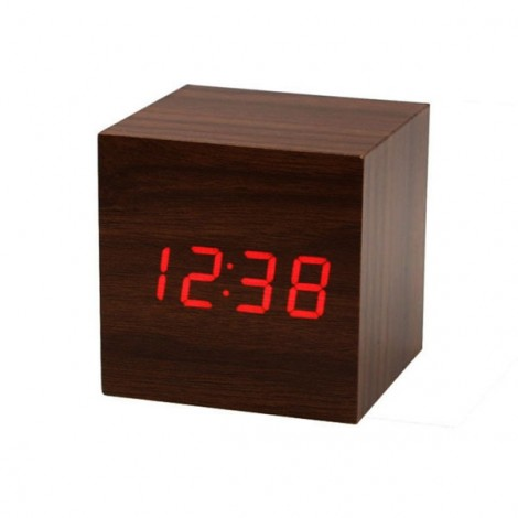 Voice Control Wooden Square LED Alarm Digital Desk Clock with Thermometer Calendar Rosewood & Red LED