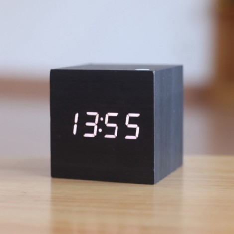 Voice Control Wooden Square LED Alarm Digital Desk Clock with Thermometer Calendar Black Wood & White LED
