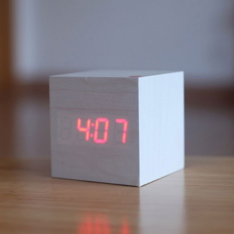 Voice Control Wooden Square LED Alarm Digital Desk Clock with Thermometer Calendar White Wood & Red LED