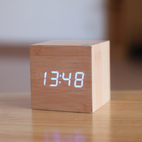 Voice Control Wooden Square LED Alarm Digital Desk Clock with Thermometer Calendar Burlywood & Blue LED