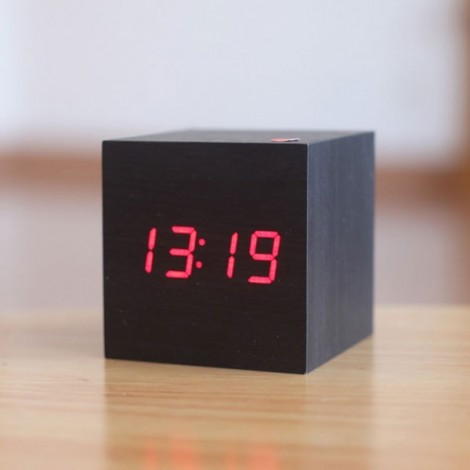 Voice Control Wooden Square LED Alarm Digital Desk Clock with Thermometer Calendar Black Wood & Red LED