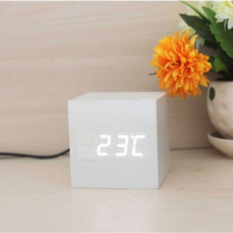Voice Control Wooden Square LED Alarm Digital Desk Clock with Thermometer Calendar White Wood & White LED