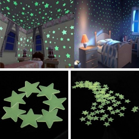 100pcs 3cm 3D PP Plastic Fluorescent Glow Star Wall Stickers Yellow