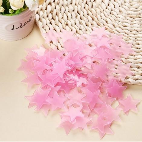 100pcs 3.8cm 3D PP Plastic Fluorescent Glow Star Wall Stickers Pink