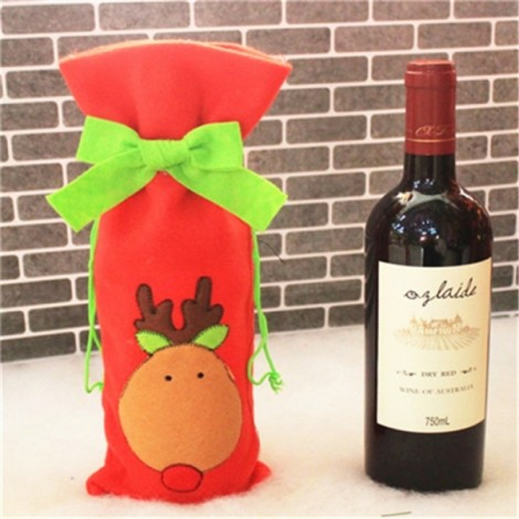 Christmas Bowknot Wine Bottle Cover Bag Dinner Party Decoration Reindeer Pattern Red