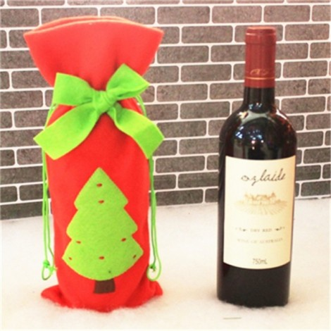 Christmas Bowknot Wine Bottle Cover Bag Dinner Party Decoration Christmas Tree Pattern Red