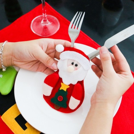 Christmas Santa Claus Pattern Cutlery Holder Silverware Cover Tableware Dinner Party Decoration