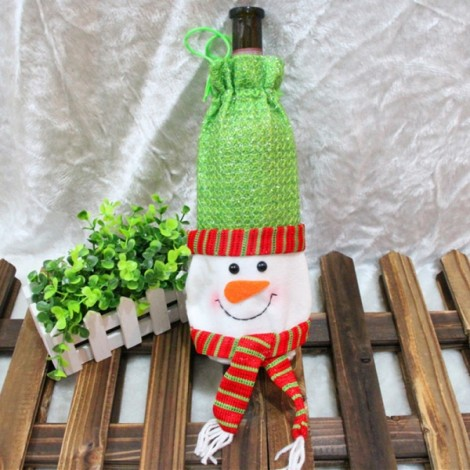 Christmas Wine Bottle Cover Bag Dinner Party Table Decoration Snowman Pattern