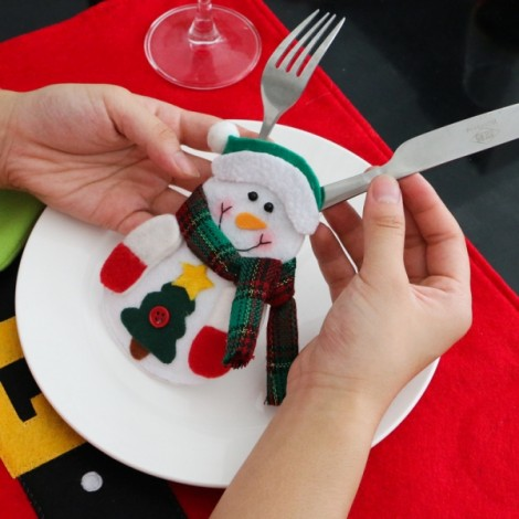Christmas Snowman Pattern Cutlery Holder Silverware Cover Tableware Dinner Party Decoration