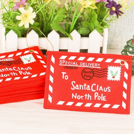 10pcs Christmas Greeting Cards Envelope Candy Bag Tree Ornament Red