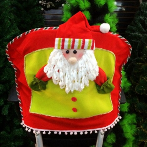 Christmas Seat Chair Cover Holiday Party Decoration Santa Claus Pattern Red