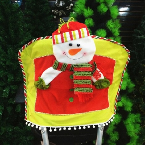 Christmas Seat Chair Cover Holiday Party Decoration Snowman Pattern Red