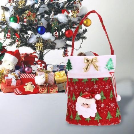 Christmas Gift Candy Drawstring Bag Hanging Handbag Santa Claus Pattern Red