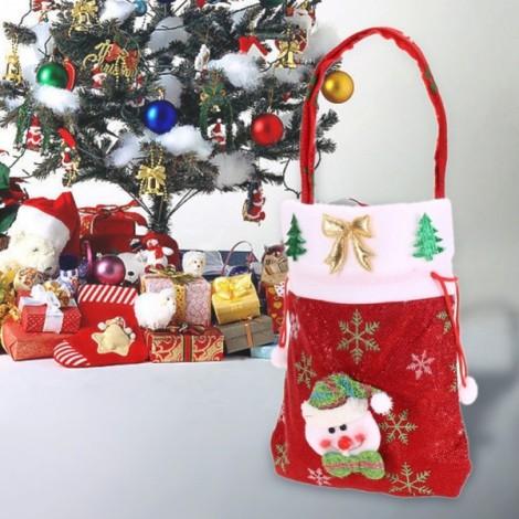 Christmas Gift Candy Drawstring Bag Hanging Handbag Snowman Pattern Red