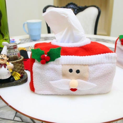 Christmas Decoration Santa Claus Pattern Tissue Box Cover Holder Home Party Holiday Decor Red & White