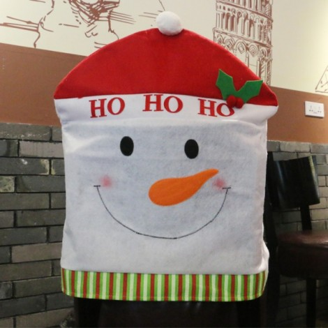 Christmas Red Hat Chair Cover Kitchen Dinner Table Party Decoration Snowman Pattern 60x50cm