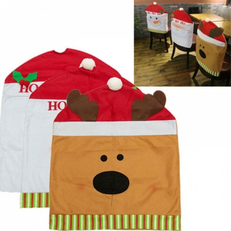 Christmas Red Hat Chair Cover Kitchen Dinner Table Party Decoration Reindeer Pattern 60x50cm
