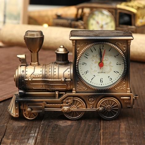 European Vintage Creative Steam Train Simulation Model Quartz Alarm Clock Decor Gift Bronze