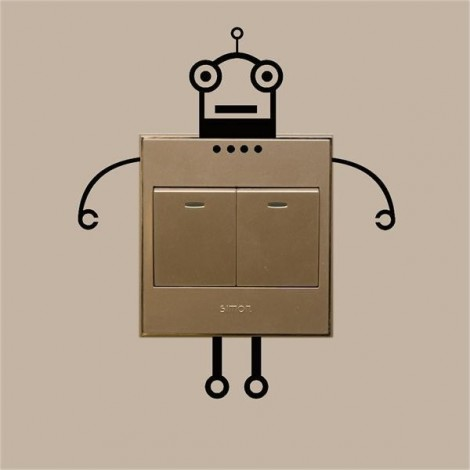 Fashion Robot Switch Sticker Living Room Wall Poster Black