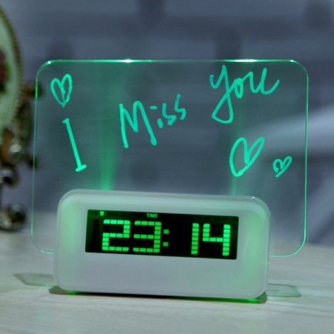 LED Fluorescent Projection Digital LED Alarm Clock Message Board USB 4-Port Hub Birthday Gift Green Backlight