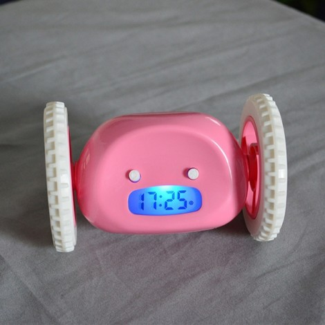 Magical Running Alarm Clock Hide and Seek Creative Alarm Clocks Lazy Bane Home Decor Gift Pink