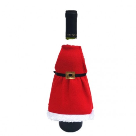 Christmas Santa Wine Bottle Apron Cover Wrap Dinner Party Table Decoration Red
