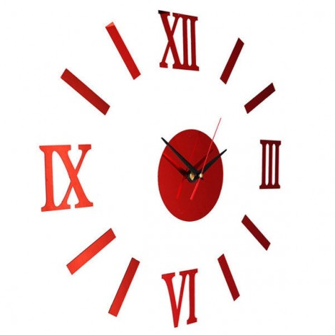 Quiet Sweep Quartz Acrylic Mirror Sticker DIY Wall Clock with Roman Numeral Hour-marker Red