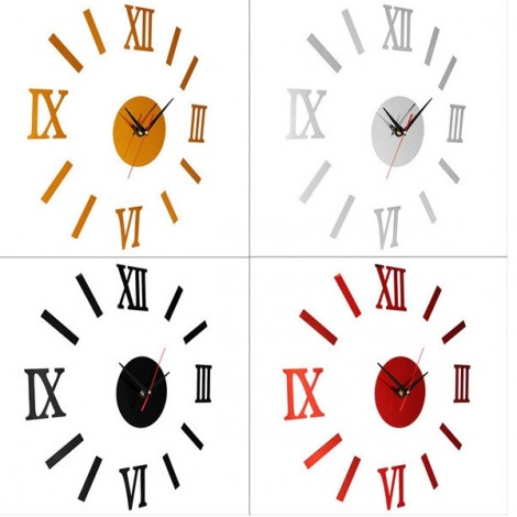 Quiet Sweep Quartz Acrylic Mirror Sticker DIY Wall Clock with Roman Numeral Hour-marker Golden