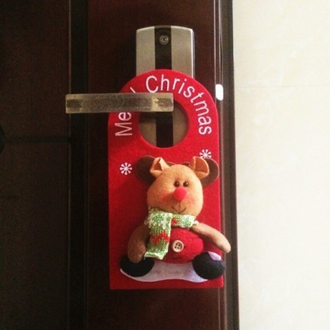 Christmas Decoration Reindeer Pattern Door Hanging Ornament Holiday Home Party Supplies Red
