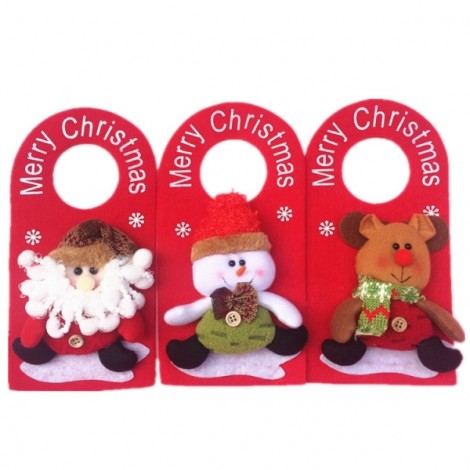 Christmas Decoration Snowman Pattern Door Hanging Ornament Holiday Home Party Supplies Red