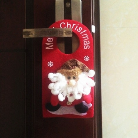 Christmas Decoration Santa Claus Pattern Door Hanging Ornament Holiday Home Party Supplies Red