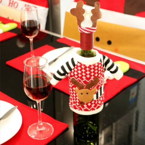 Christmas Reindeer Pattern Kniited Sweater Wine Bottle Cover Home Party Dinner Decoration