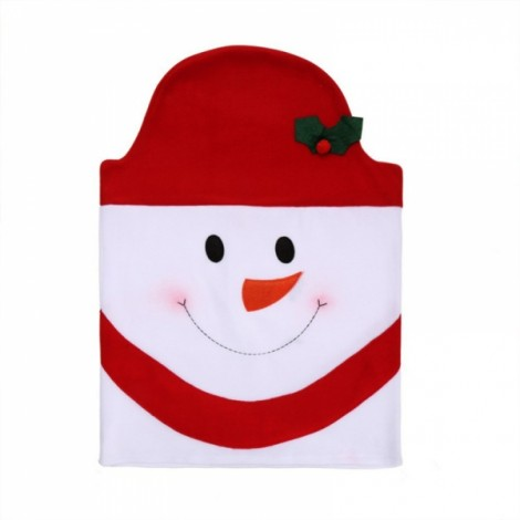 Family Style Christmas Snowman Chair Cover Kitchen Dinner Seat Back Home Party Decoration Red