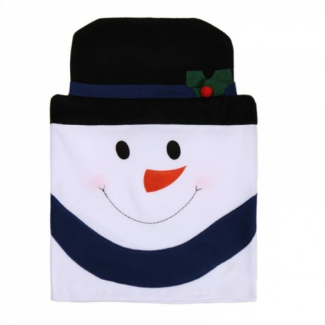 Family Style Christmas Snowman Chair Cover Kitchen Dinner Seat Back Home Party Decoration Black