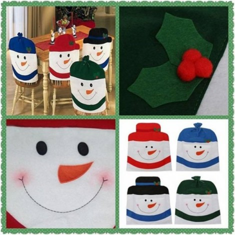 Family Style Christmas Snowman Chair Cover Kitchen Dinner Seat Back Home Party Decoration Green